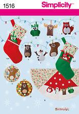 SEWING PATTERN! MAKE CHRISTMAS SOCKS~ORNAMENTS~TREE SKIRT! OWL~FOX~BEAR~DEER!