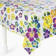 Plastic Hibiscus Tablecloth Luau Party