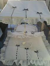Pram Canopy to fit Silver Cross in white/ with navy bows
