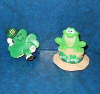 Hallmark Merry Miniatures St. Patrick's Day Lot of 2  Frog & Shamrock