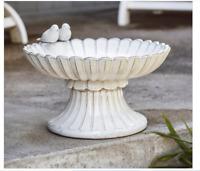 Outdoor Ceramic Bird Bath Patio Antique White Distressed Dish Bowl Vintage