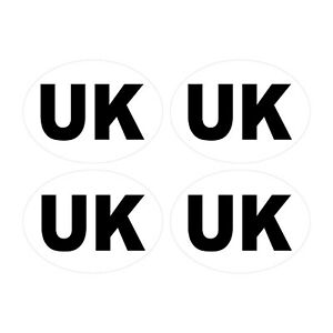 4 x UK Car Stickers - White Oval Self-Adhesive Vinyl UK Stickers for Cars, Vans