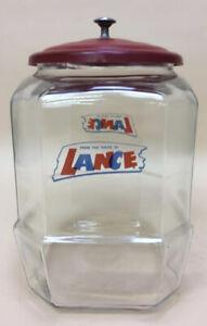 Vintage Lance Glass Display Cookie, Cracker Jar with Original Red Lid and Handle