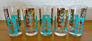 1957 Libbey Turquoise Blue Gold LACE LEAVES 12.5 oz Beverage Glasses Bar Set