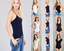 Women's Bodysuit Tank Top or T-shirt Solid Colors Basic Stretch Cotton Knit