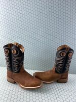 JUSTIN Bent Rail Black/Brown Leather Square Toe Western Boots Men's Size 10.5 D