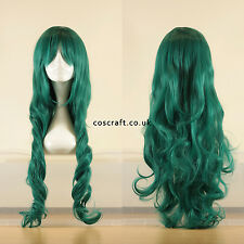 80cm long wavy curly cosplay wig in midnight dark green, UK seller, Jeri style