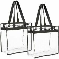 2-Pack Clear Transparent Tote Bag PVC w/Zipper Stadium Approved Should Handbag