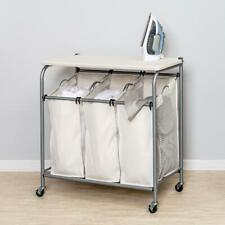 Ironing Board Laundry Sorter Combo Rolling Cart Laundry Storage Clothes Hamper