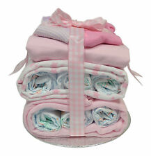 Nappy Stack Baby Girl Nappy Cake Pink - Baby Shower Gift