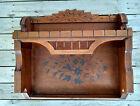Antique Eastlake Victorian Floral Spoon Carved Walnut 2 Tier Wall Plate Shelf