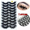 SKONHED 10 Pairs 3D Mink False Eyelashes Wispy Cross Fluffy Extension Eye Lashes