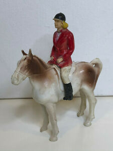 Bergen Toy & Novelty Co Hard Plastic Horse with Female Rider Fox Hunt