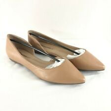 Breckelles Womens D'Orsay Flats Pointed Toe Faux Leather Beige Slip On Size 7.5