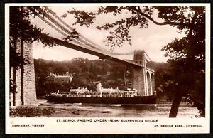 1930 ST. SEIROL PASSING UNDER MENAI SUSPENSION BRIDGE REAL PHOTO POSTCARD WALES