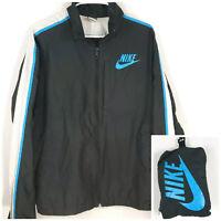 NIKE Men's Packable Windbreaker Jacket Size Medium Black Blue and White