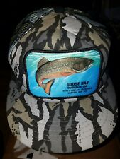 NICE Vintage GOOSE BAY Outfitters Hat Crazy Gray Camo Salmon Fishing Canada Mesh