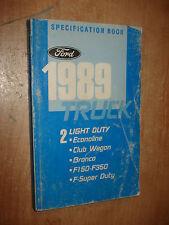 1989 FORD TRUCK SPECIFICATIONS MANUAL ORIGINAL BOOK F150 F250 SUPER DUTY & MORE