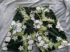 Mens Hawaiian Swim Shorts 39-40 Shay Bouvier green & white geckos pattern Nice