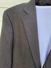 Stafford 46L Brown Houndstooth Merino Wool Sport Coat Blazer Jacket, Classic Fit