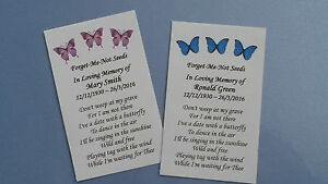 10 Personalised Forget Me Not Seed Favours Funeral Memorial In Loving Memory etc