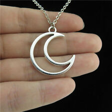 "18"" Silver Chain Alloy Collar Chunky Short Necklace Crescent Moon Lunar Pendant"