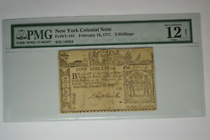 New York Colonial Note- February 16, 1771- 5 Shillings-  PMG Fine- Net