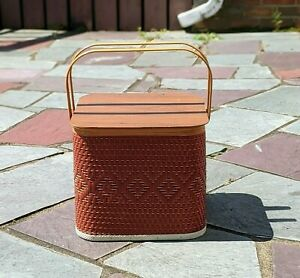 Large Red Woven Wood / Wicker Picnic Basket with Handles Pie Camping Outdoor