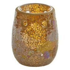 Glam Gold Mosaic Glass Oil Tart Warmer Tealight Holder Yankee Candle opalescent