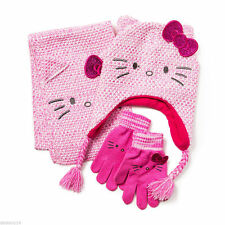 Hello Kitty Scarf Trapper Hat Cap Gloves Winter Set of 3 Pink Sparkle Sanrio
