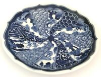 """Vintage Japanese Hand Painted Imari Arita Blue & White Plate 6 1/4"""" It/258"""