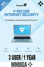 F-Secure Internet Security 2018 3PC 1 Año - tecla de descarga - VERSIÓN DE LA UE
