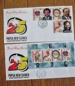 PAPUA NEW GUINEA  SILVER ANNIV JUBILEE 2000 SOUVENIR SHEET & 6 STAMP SET 2 FDCS