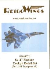 RetroKits Models 1/144 SUKHOI Su-27 COCKPIT DETAIL SET Resin Update Set