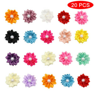 100pcs Flower Pet Cat Dog Hair Bows with Rubber Band Holiday Grooming Topknot