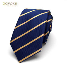 Men blue striped Ties for Men 6cm Polyester Silk Casual Business Wedding necktie