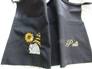 Black Server Waitress Apron Gnome Sunflower Embroider Name FREE Lady Pizazz