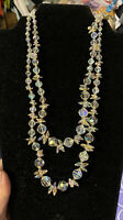 Vtg Faceted AB Crystal Double Strand Necklace Sterling Clasp