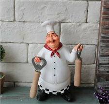 Decorative Kitchen Cooking Chef Figurine Statue Holding Bottle Opener Resin