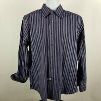 Robert Graham Mens Blue Purple Striped Geometric L/S Dress Button Shirt Sz Large