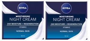 2 x Nivea 24h Moisture + Regeneration Night Cream Normal Skin (2 x 50ml)