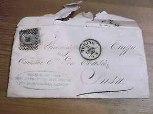 BUSTA DA ORDINE SANTI MAURIZIO E LAZZARO PER SUSA BOLLATA 1866 17-35