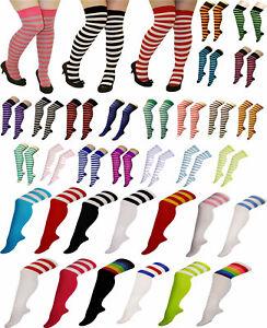 Womens Over The Knee Referee Stripe Socks Ladies OTK Stretchy Novelty Socks