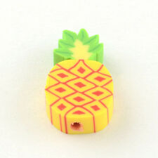 10 Pineapple Beads Polymer Clay Fruit Beads Flat Assorted Lot 16mm