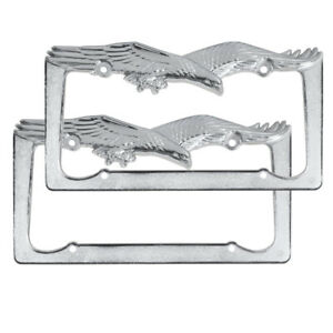 Eagle License Plate Holder Silver Chrome Metal Frame Weather Resistant 2 Pack