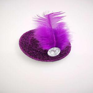 2PCS Feather Mini Top Hat Hair Clip Lady Fascinator Hair Accessories Cute GIFT