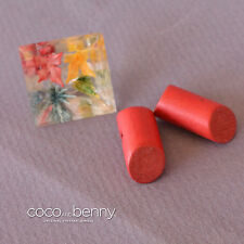 *Vintage 3 40's Buttons 2 Red Wood Barrel and One Celluloid with Flowers