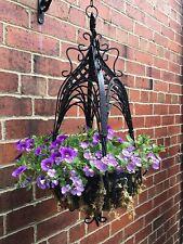 Ornate Black Hanging Basket Heavy Shabby Chic FREE POSTAGE