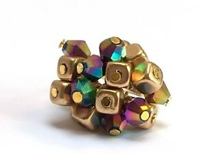 CLUSTER COCKTAIL RING ADJUSTABLE DISCO BALL gold plated jewellery multicolour