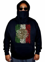 Men's Mexico Flag Mask Hoodie Mexican Pride Symbol Aztec Mayan Sweater Jacket